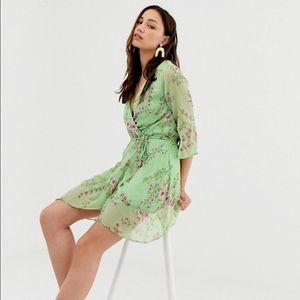 ASOS | Influence Green Floral Mini Wrap Dress